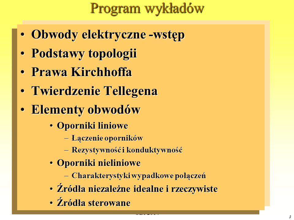 Program wykładów Obwody elektryczne -wstęp Podstawy topologii