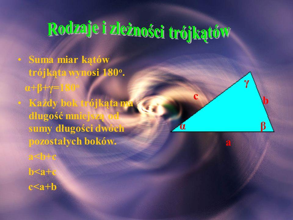 Rodzaje i zleżności trójkątów