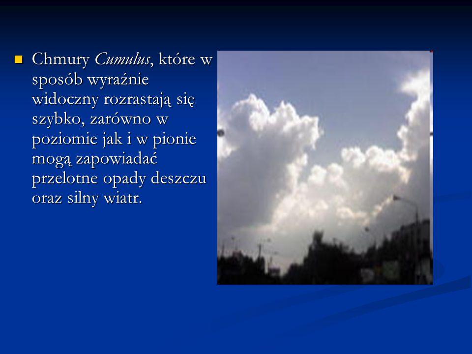 Chmury Cumulus, które w sposób wyraźnie widoczny rozrastają się szybko, zarówno w poziomie jak i w pionie mogą zapowiadać przelotne opady deszczu oraz silny wiatr.