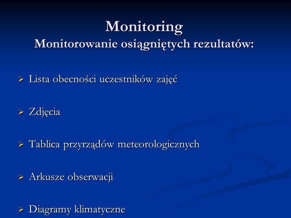 Monitoring Monitorowanie osiągniętych rezultatów: