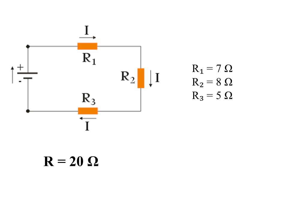 R₁ = 7 Ω R₂ = 8 Ω R₃ = 5 Ω R = 20 Ω