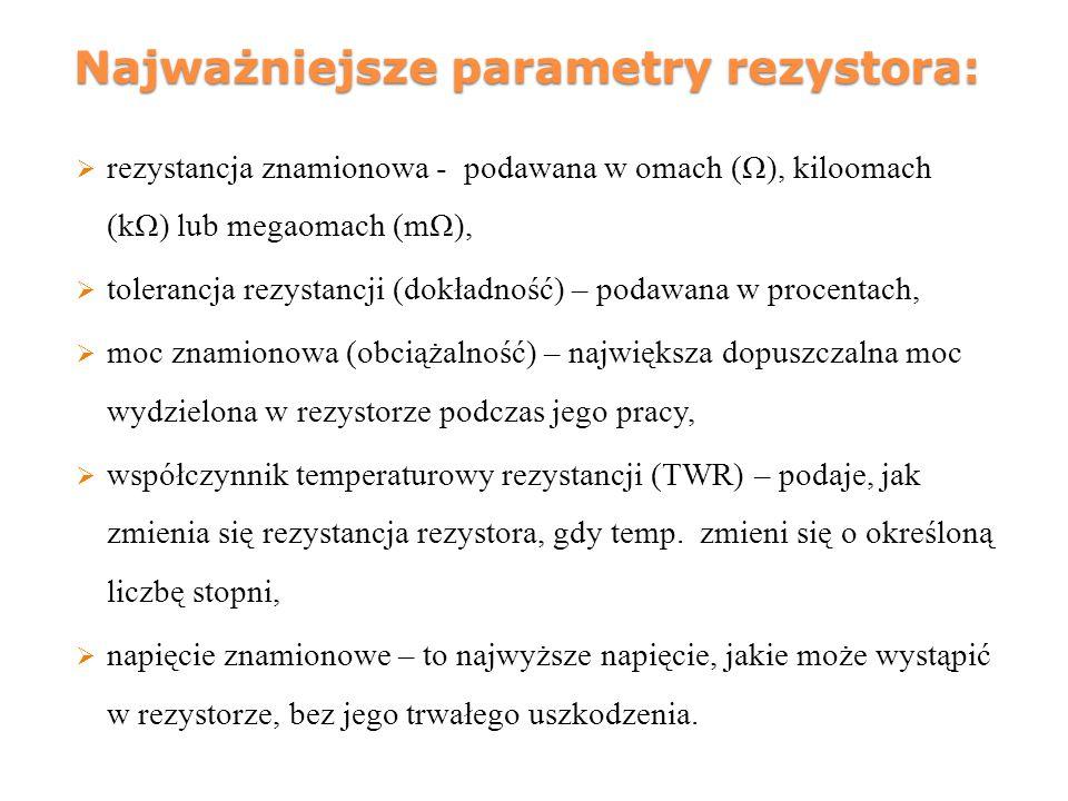Najważniejsze parametry rezystora: