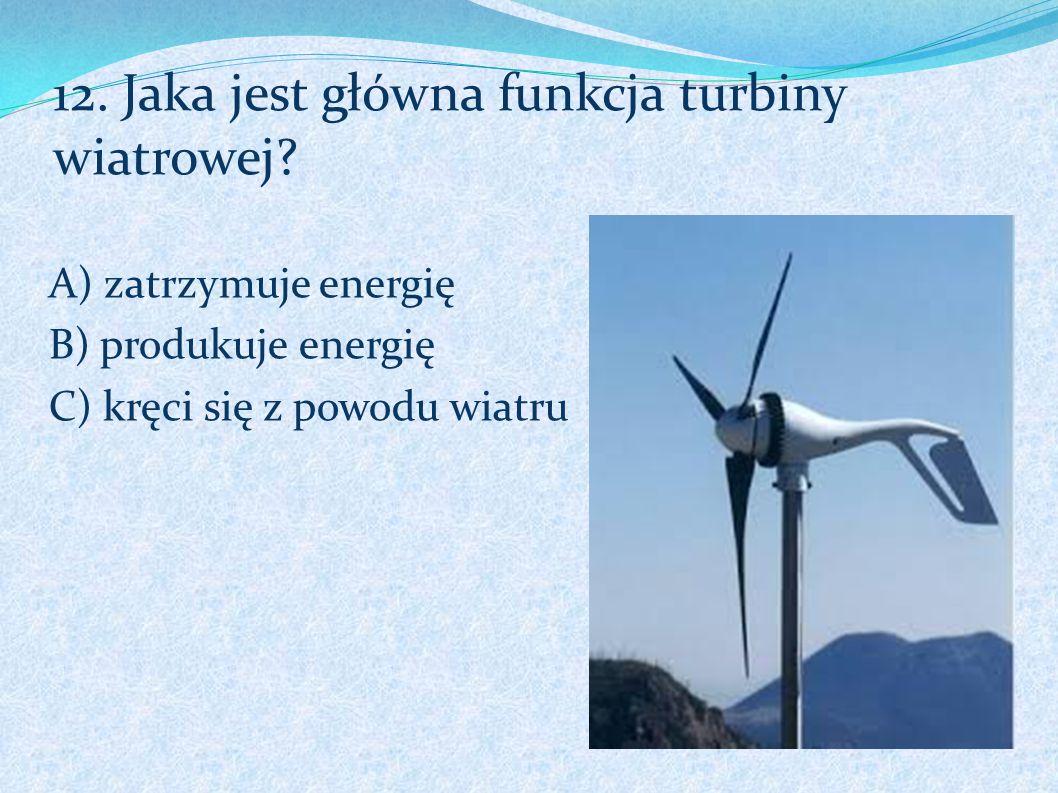 12. Jaka jest główna funkcja turbiny wiatrowej