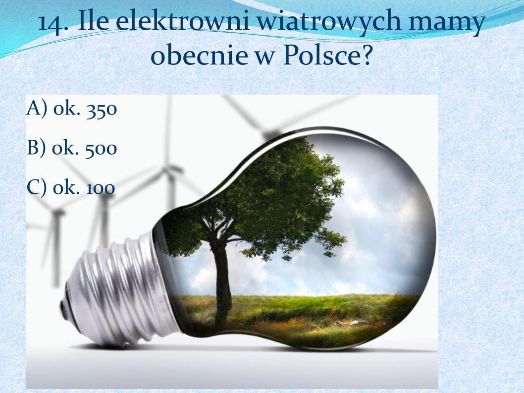 14. Ile elektrowni wiatrowych mamy obecnie w Polsce