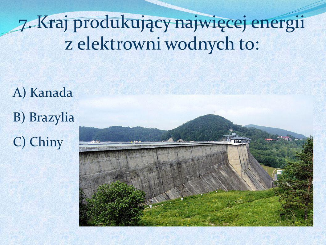7. Kraj produkujący najwięcej energii z elektrowni wodnych to: