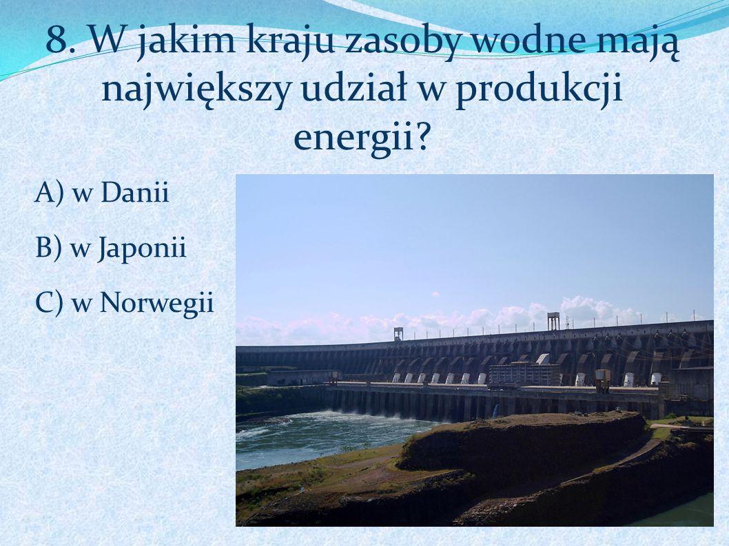 8. W jakim kraju zasoby wodne mają największy udział w produkcji energii