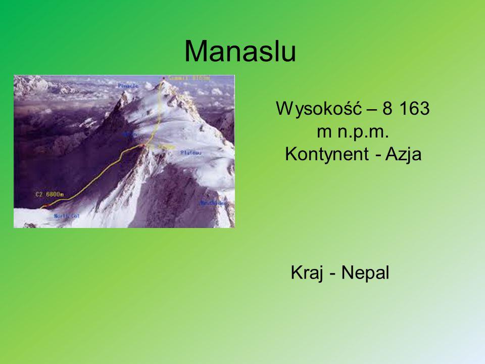 Wysokość – 8 163 m n.p.m. Kontynent - Azja