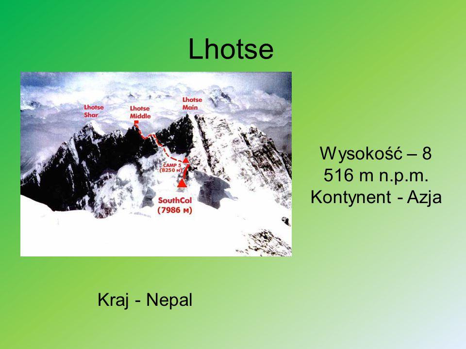 Wysokość – 8 516 m n.p.m. Kontynent - Azja