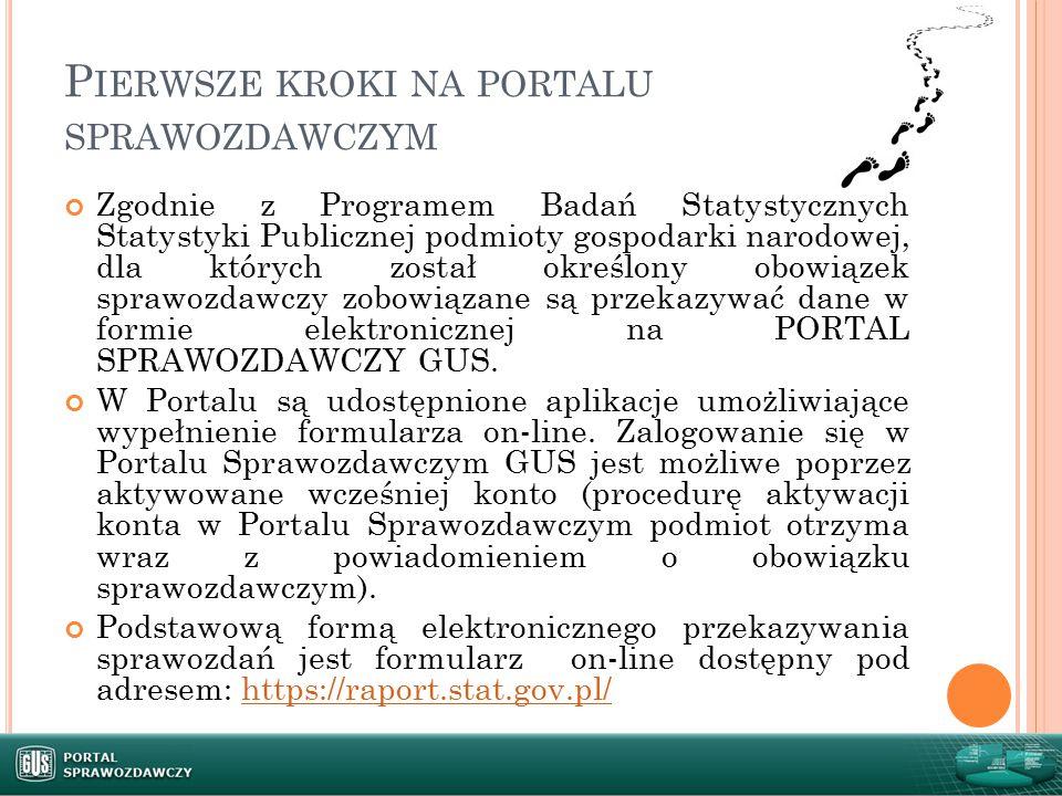 Pierwsze kroki na portalu sprawozdawczym