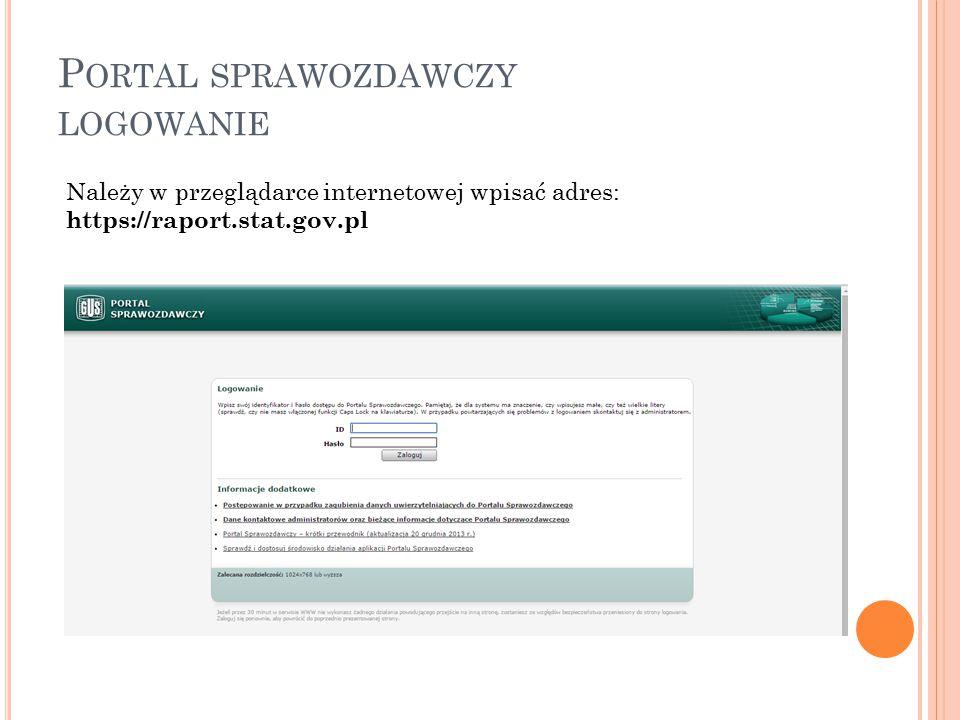 Portal sprawozdawczy logowanie