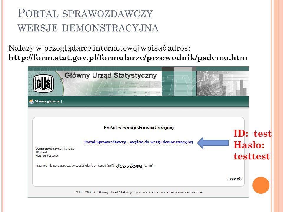 Portal sprawozdawczy wersje demonstracyjna