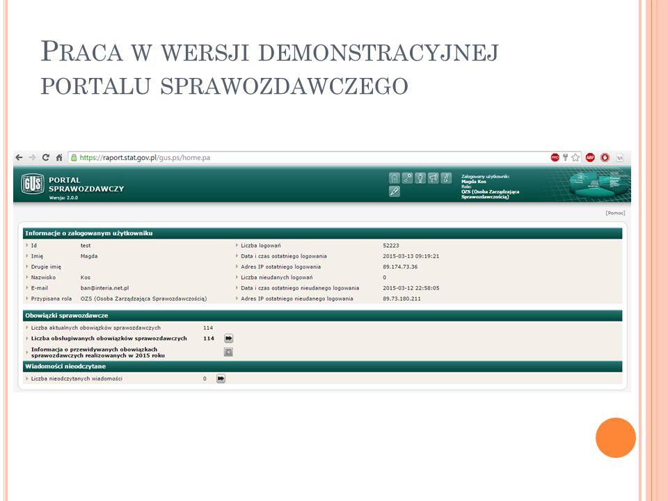 Praca w wersji demonstracyjnej portalu sprawozdawczego