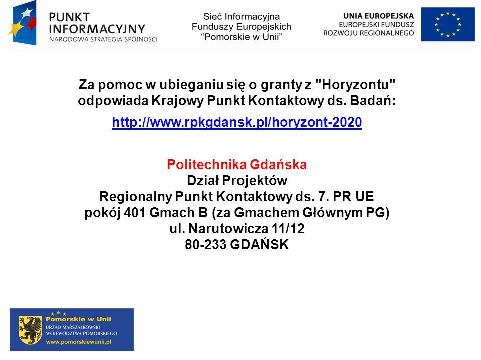 Za pomoc w ubieganiu się o granty z Horyzontu odpowiada Krajowy Punkt Kontaktowy ds. Badań: