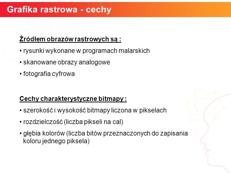 Grafika rastrowa - cechy