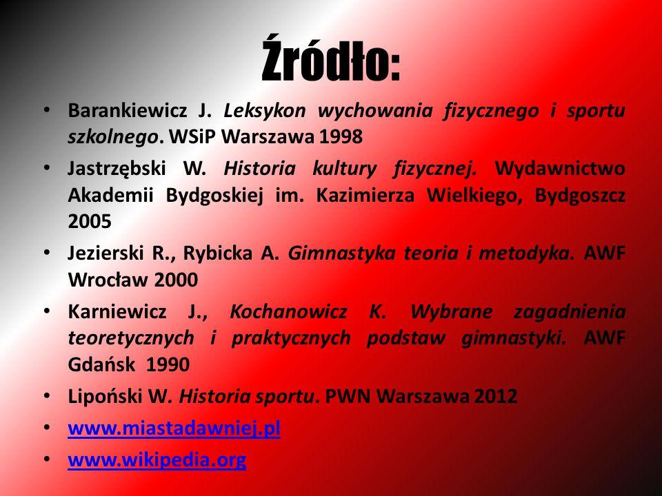 Źródło: Barankiewicz J. Leksykon wychowania fizycznego i sportu szkolnego. WSiP Warszawa 1998.