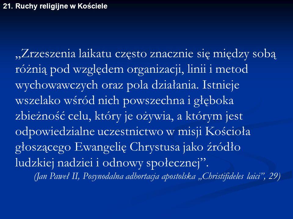 21. Ruchy religijne w Kościele