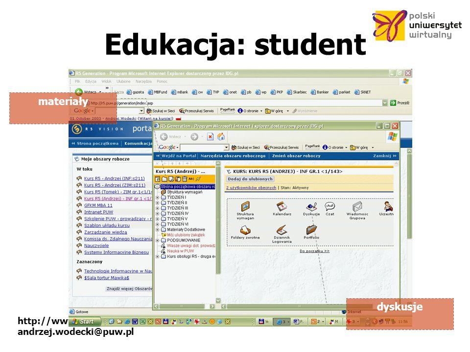 Edukacja: student materiały dyskusje