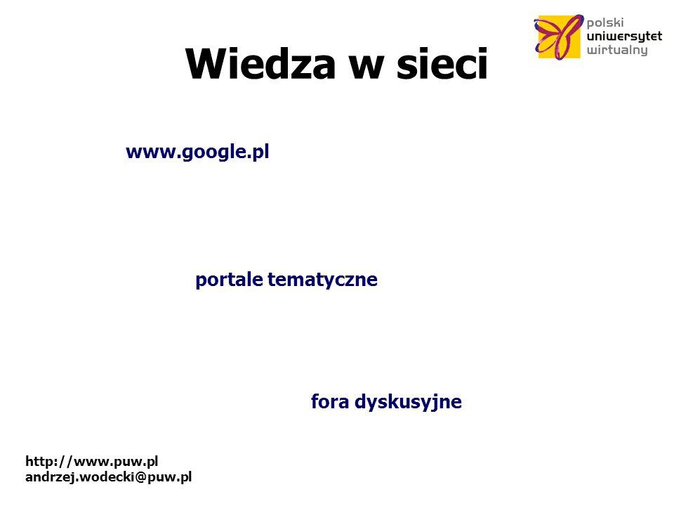 Wiedza w sieci www.google.pl portale tematyczne fora dyskusyjne