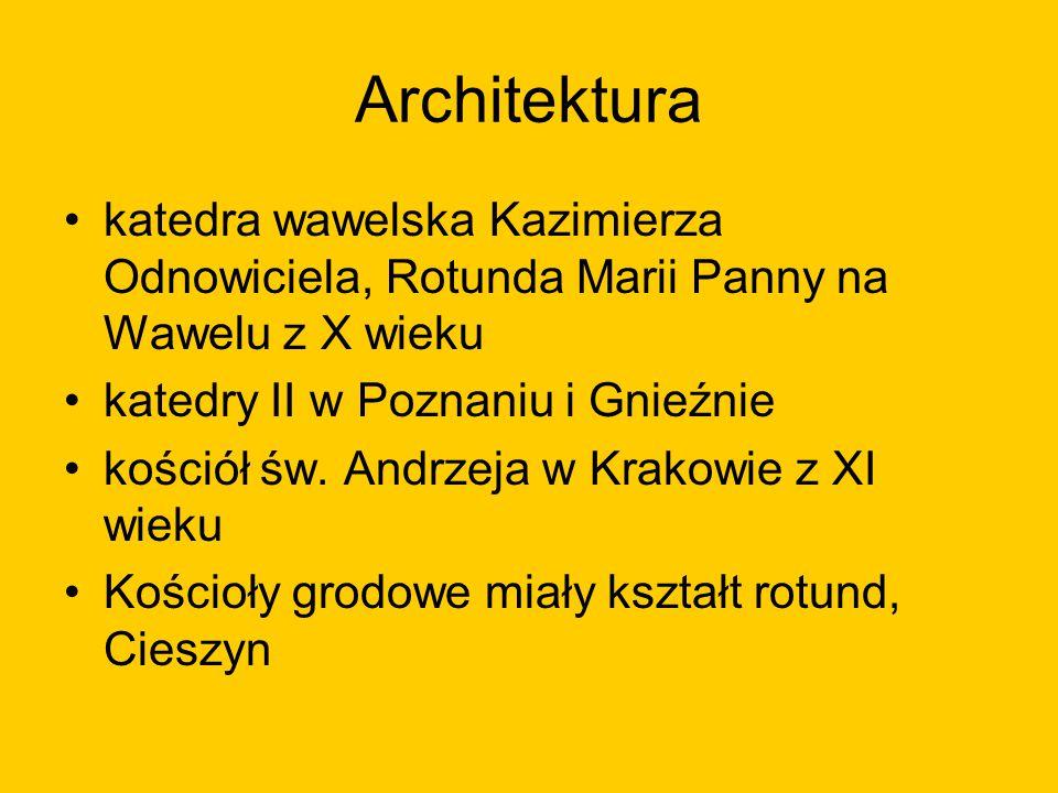 Architektura katedra wawelska Kazimierza Odnowiciela, Rotunda Marii Panny na Wawelu z X wieku. katedry II w Poznaniu i Gnieźnie.