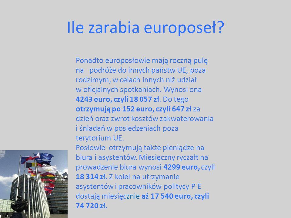 Ile zarabia europoseł