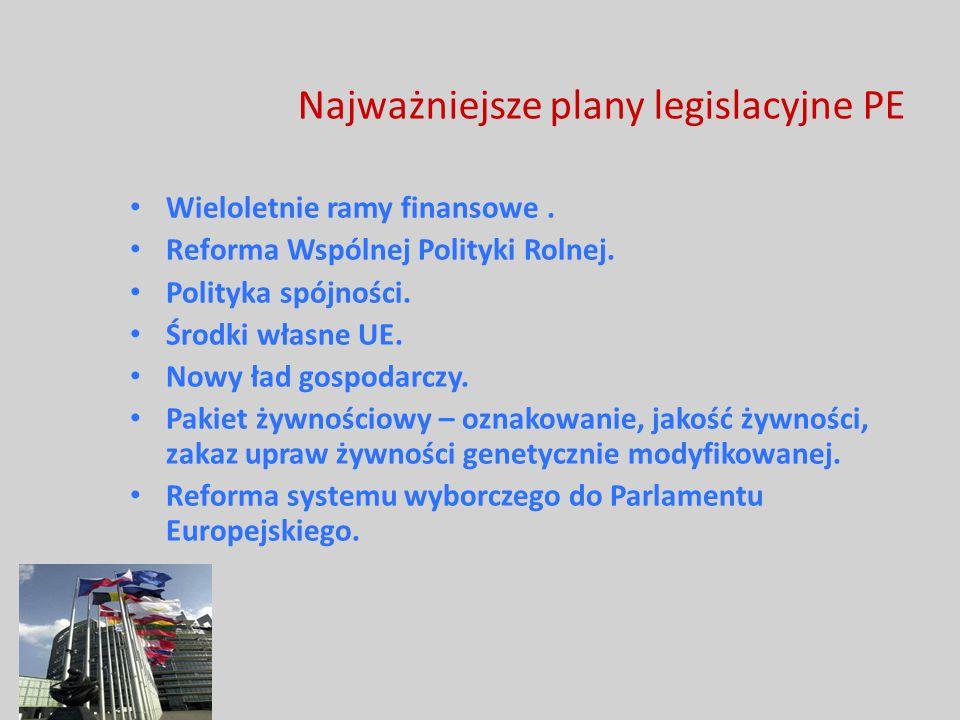 Najważniejsze plany legislacyjne PE