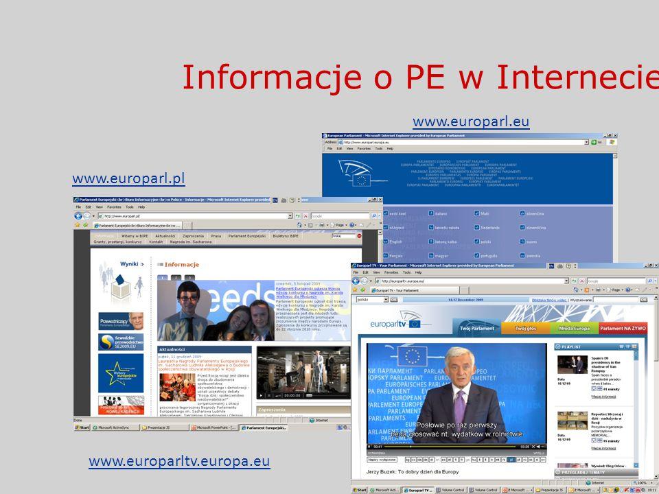 Informacje o PE w Internecie