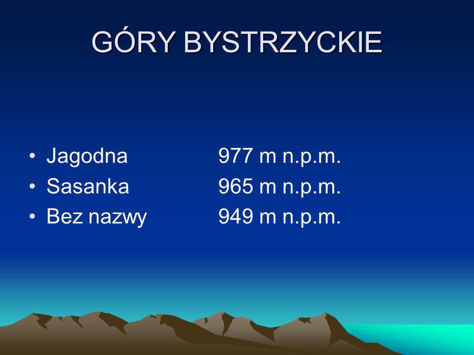 GÓRY BYSTRZYCKIE Jagodna 977 m n.p.m. Sasanka 965 m n.p.m.