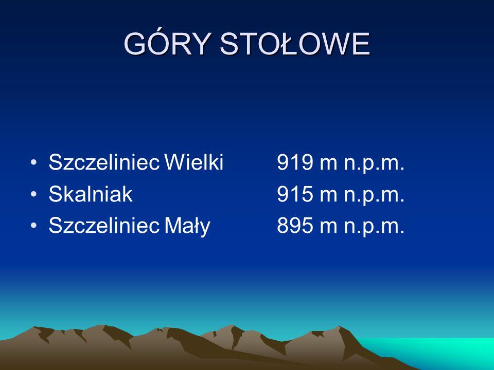 GÓRY STOŁOWE Szczeliniec Wielki 919 m n.p.m. Skalniak 915 m n.p.m.