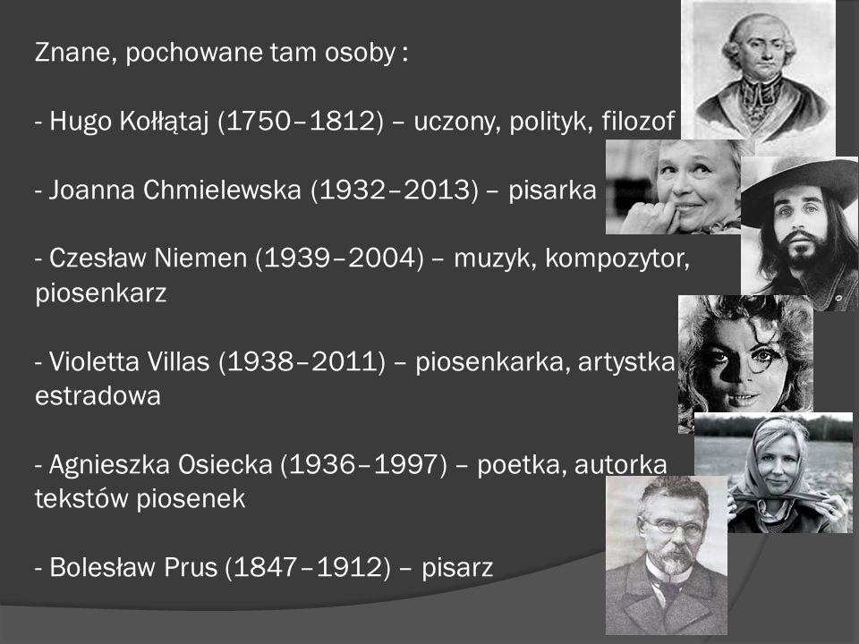 Znane, pochowane tam osoby : - Hugo Kołłątaj (1750–1812) – uczony, polityk, filozof - Joanna Chmielewska (1932–2013) – pisarka - Czesław Niemen (1939–2004) – muzyk, kompozytor, piosenkarz - Violetta Villas (1938–2011) – piosenkarka, artystka estradowa - Agnieszka Osiecka (1936–1997) – poetka, autorka tekstów piosenek - Bolesław Prus (1847–1912) – pisarz