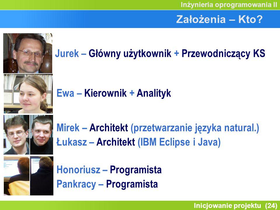 Założenia – Kto Jurek – Główny użytkownik + Przewodniczący KS. Ewa – Kierownik + Analityk. Mirek – Architekt (przetwarzanie języka natural.)