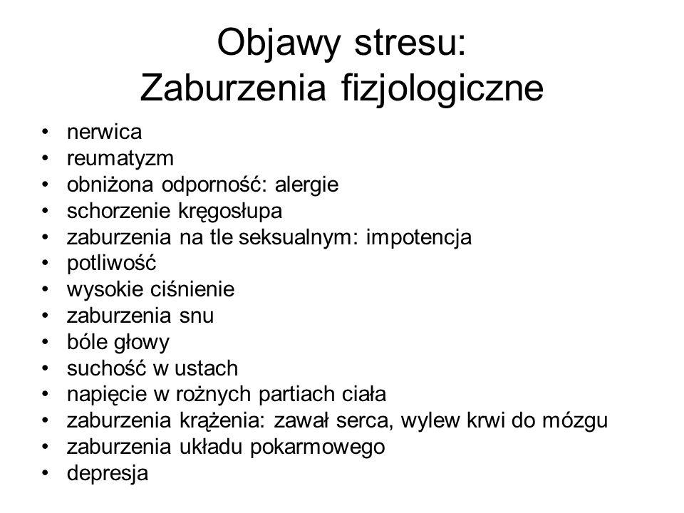 Objawy stresu: Zaburzenia fizjologiczne