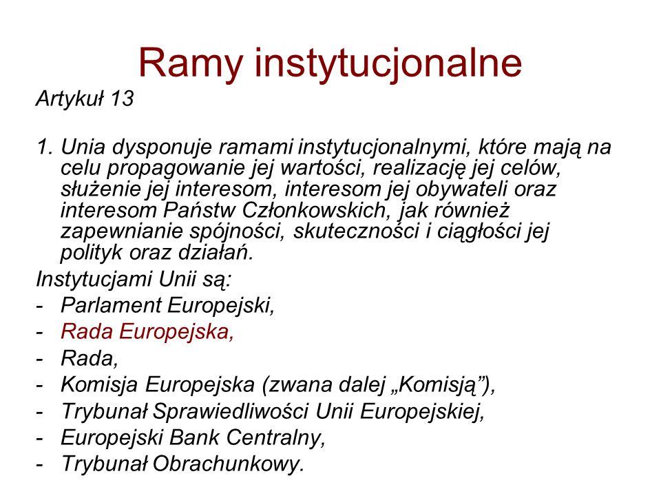 Ramy instytucjonalne Artykuł 13