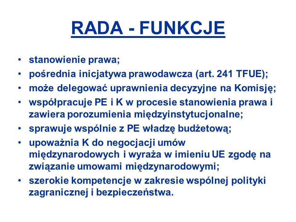RADA - FUNKCJE stanowienie prawa;