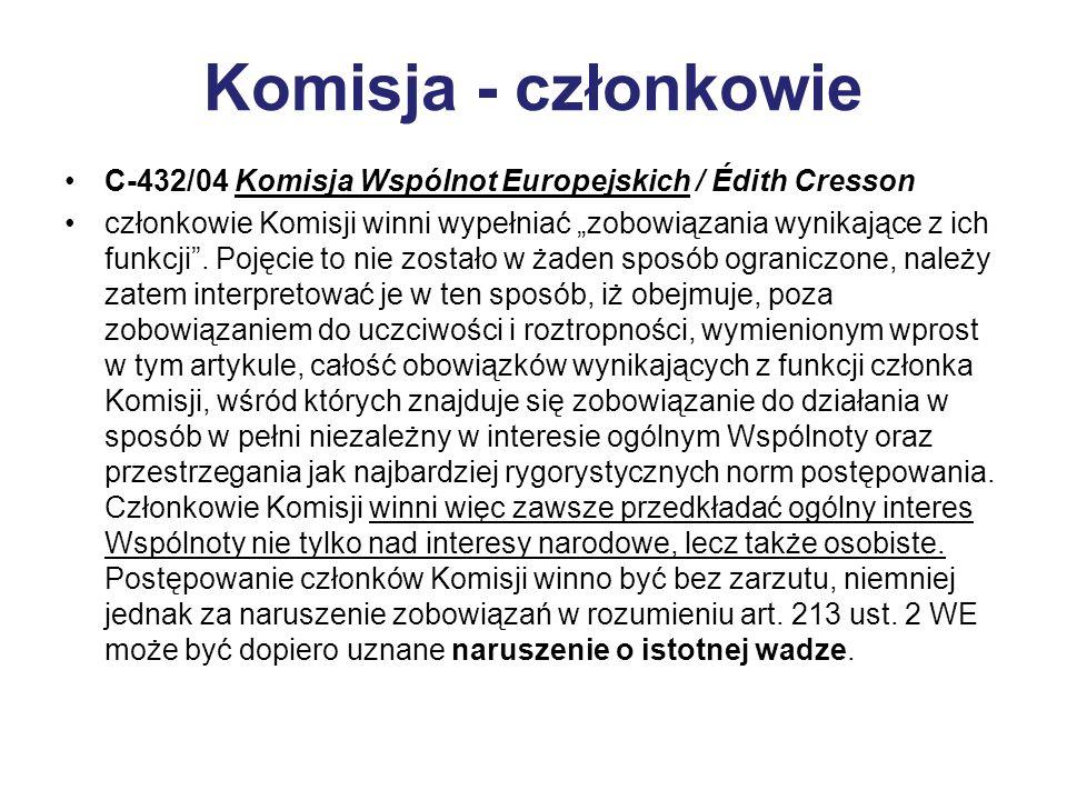 Komisja - członkowie C-432/04 Komisja Wspólnot Europejskich / Édith Cresson.