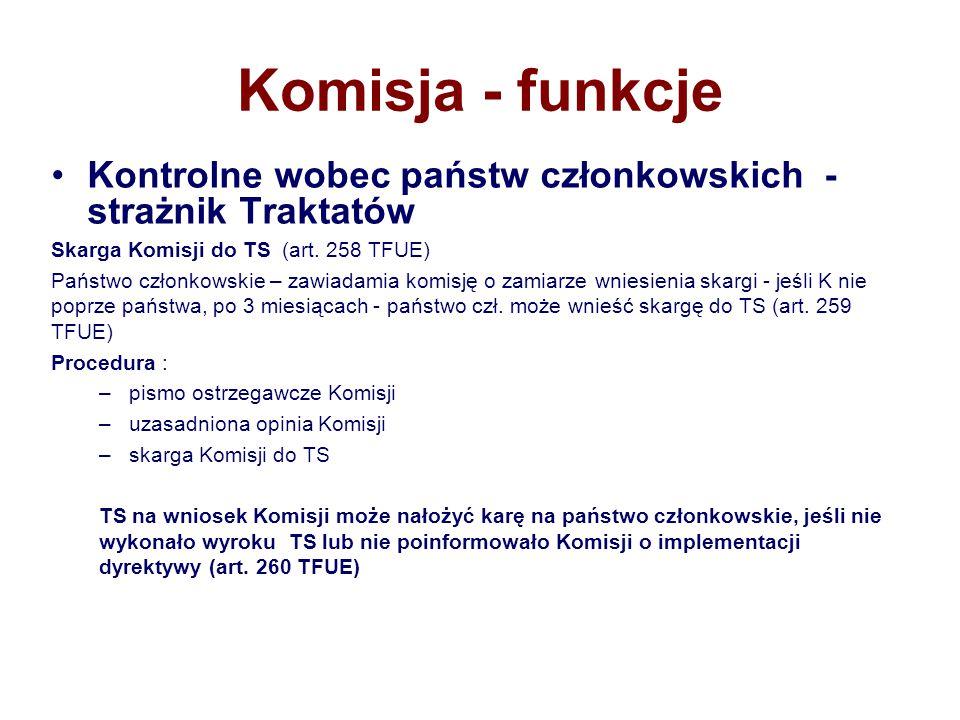 Komisja - funkcje Kontrolne wobec państw członkowskich - strażnik Traktatów. Skarga Komisji do TS (art. 258 TFUE)