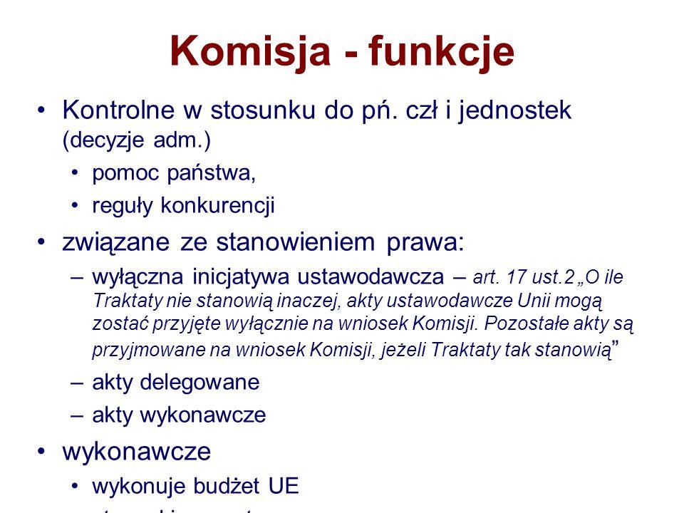 Komisja - funkcje Kontrolne w stosunku do pń. czł i jednostek (decyzje adm.) pomoc państwa, reguły konkurencji.