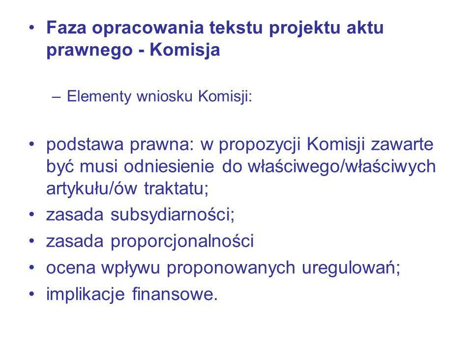 Faza opracowania tekstu projektu aktu prawnego - Komisja
