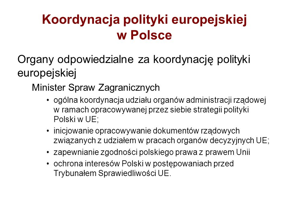 Koordynacja polityki europejskiej w Polsce