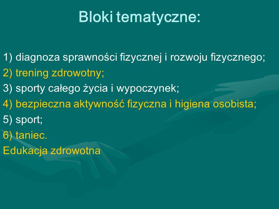 Bloki tematyczne: 1) diagnoza sprawności fizycznej i rozwoju fizycznego; 2) trening zdrowotny; 3) sporty całego życia i wypoczynek;