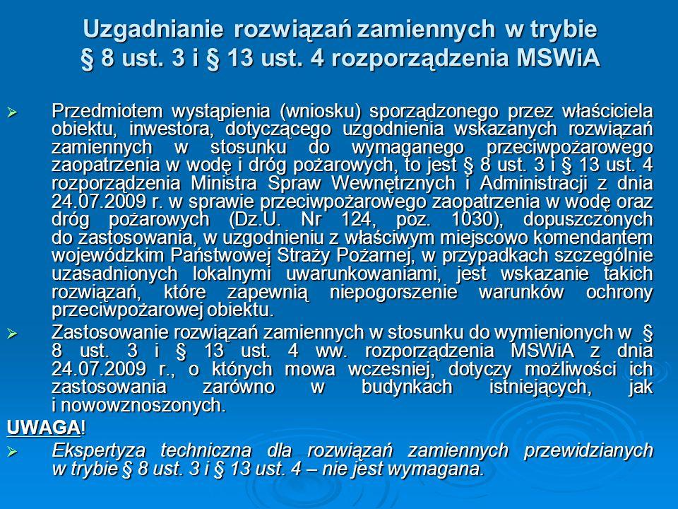 Uzgadnianie rozwiązań zamiennych w trybie § 8 ust. 3 i § 13 ust