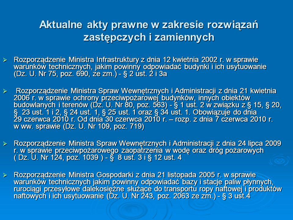Aktualne akty prawne w zakresie rozwiązań zastępczych i zamiennych
