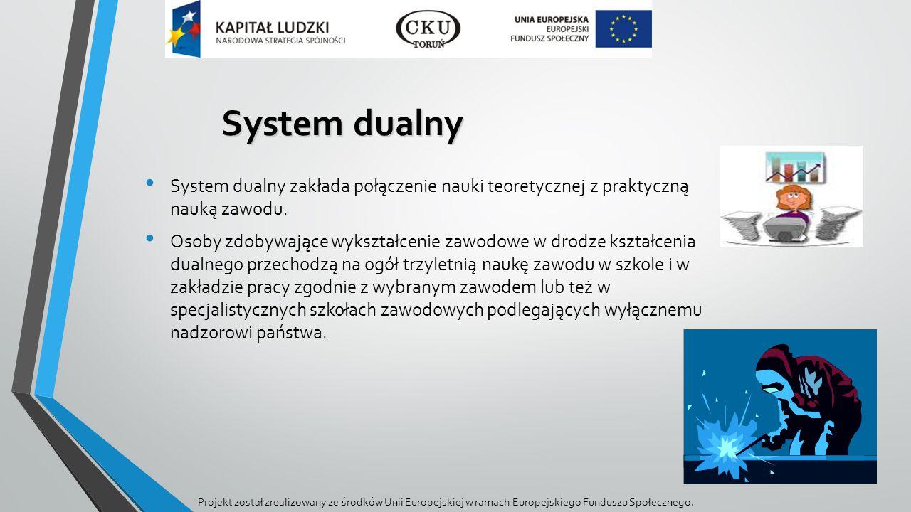 System dualny System dualny zakłada połączenie nauki teoretycznej z praktyczną nauką zawodu.