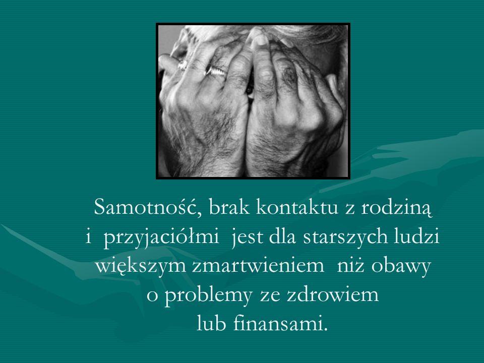 Samotność, brak kontaktu z rodziną i przyjaciółmi jest dla starszych ludzi większym zmartwieniem niż obawy o problemy ze zdrowiem lub finansami.