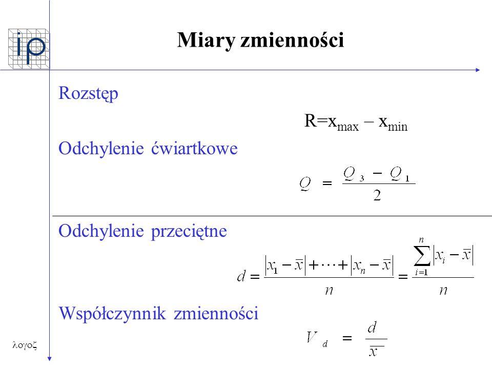 Miary zmienności Rozstęp R=xmax – xmin Odchylenie ćwiartkowe