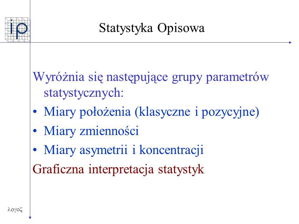 Wyróżnia się następujące grupy parametrów statystycznych: