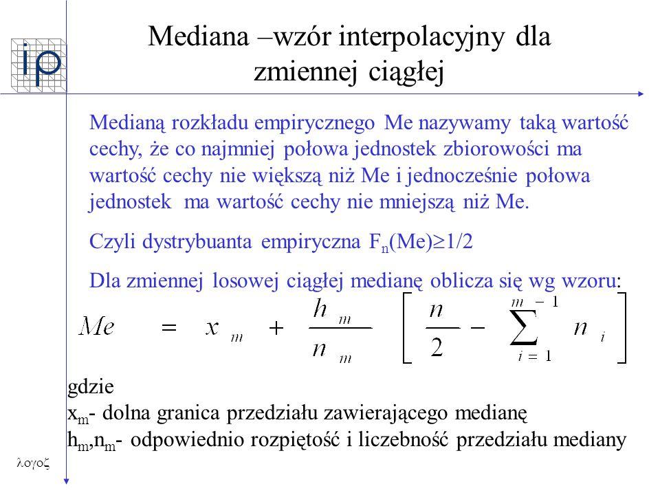 Mediana –wzór interpolacyjny dla zmiennej ciągłej