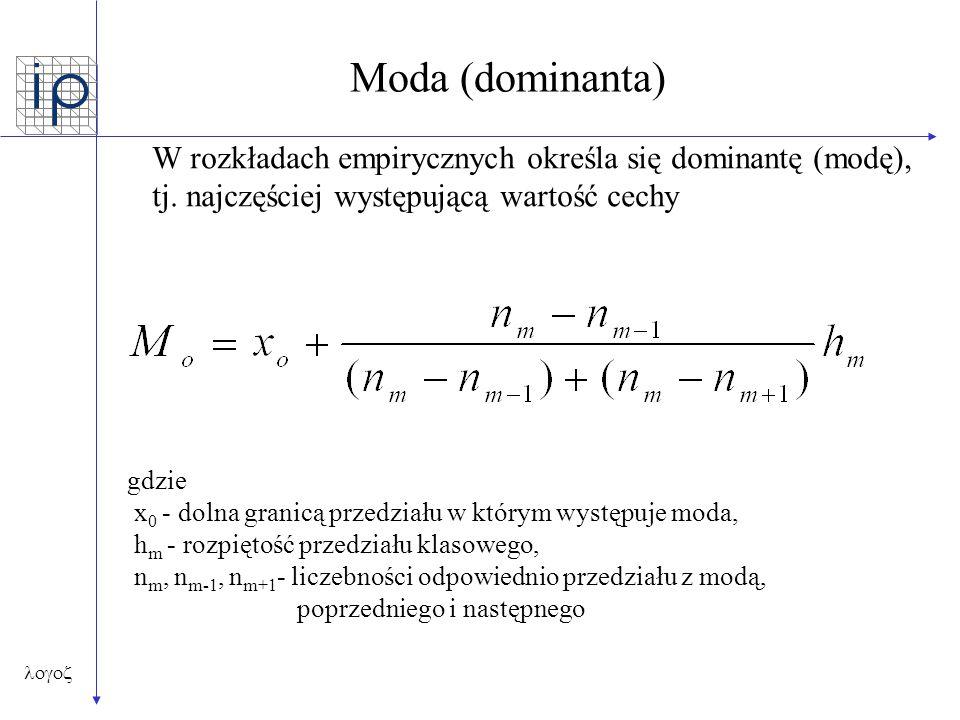 Moda (dominanta) W rozkładach empirycznych określa się dominantę (modę), tj. najczęściej występującą wartość cechy.