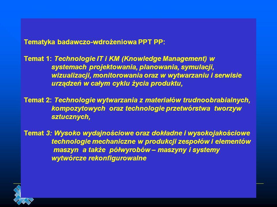Tematyka badawczo-wdrożeniowa PPT PP: Temat 1: Technologie IT i KM (Knowledge Management) w systemach projektowania, planowania, symulacji, wizualizacji, monitorowania oraz w wytwarzaniu i serwisie urządzeń w całym cyklu życia produktu, Temat 2: Technologie wytwarzania z materiałów trudnoobrabialnych, kompozytowych oraz technologie przetwórstwa tworzyw sztucznych, Temat 3: Wysoko wydajnościowe oraz dokładne i wysokojakościowe technologie mechaniczne w produkcji zespołów i elementów maszyn a także półwyrobów – maszyny i systemy wytwórcze rekonfigurowalne