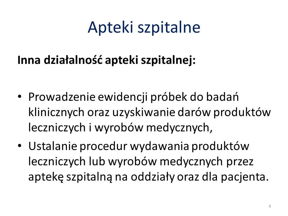 Apteki szpitalne Inna działalność apteki szpitalnej: