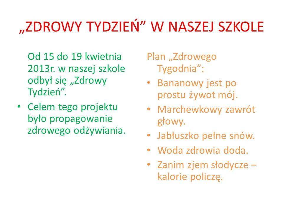 """""""ZDROWY TYDZIEŃ W NASZEJ SZKOLE"""